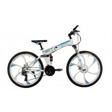 """Алюминиевый складной велосипед E-motion на литых дисках 26"""" / рама 17"""" бело-синий"""