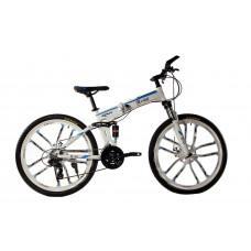 """Алюминиевый складной велосипед Маке на литых дисках 26"""" / рама 17"""" бело-синий"""