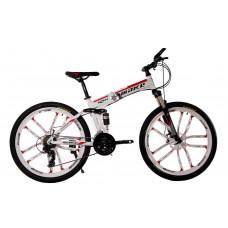 """Алюминиевый складной велосипед Маке на литых дисках 26"""" / рама 17"""" бело-красный"""