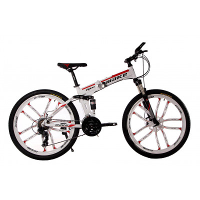 """Алюмінієвий складний велосипед Маке на литих дисках 26"""" / рама 17"""" біло-червоний"""