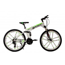 """Алюминиевый складной велосипед Маке на литых дисках 26"""" / рама 17"""" бело-салатовый"""