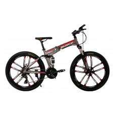 """Алюминиевый складной велосипед Маке на литых дисках 26"""" / рама 17"""" серо-красный"""