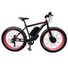 Електровелосипед передньопривідний E-motion Fatbike GT 48V 16Ah 750W Front чорно-червоний