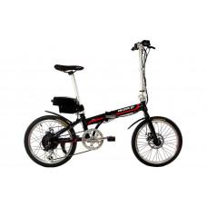 """Электровелосипед складной МАКЕ 20"""" 36V 12Ah 350W / алюминиевая рама 17"""" чёрный с красным"""