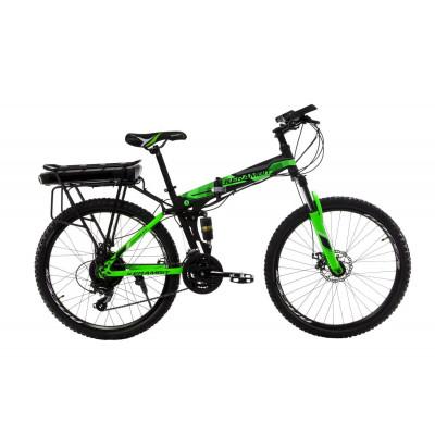 """Електровелосипед Kerambit 26"""" 17"""" 36V 12Ah 500W складаний з багажником чорно-зелений"""