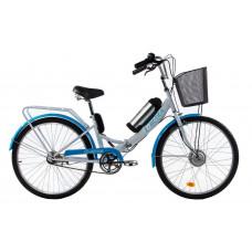 Електровелосипед E-motion складаний з низькою рамою 36V 10Ah 350W біло-блакитний