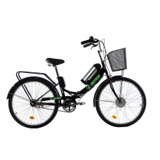Електровелосипед E-motion складаний з низькою рамою 36V 10Ah 350W чорно-зелений