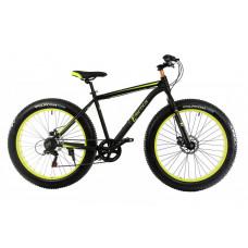 """Велосипед E-motion Fatbike GT 26 """"/ гідравлічні гальма / алюмінієва рама 19"""" чорно-жовтий"""