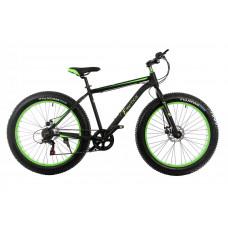 """Велосипед E-motion Fatbike GT 26 """"/ гідравлічні гальма / алюмінієва рама 19"""" чорно-зелений"""