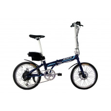 """Электровелосипед складной МАКЕ 20"""" 36V 12Ah 350W / алюминиевая рама 17"""" синий с голубым"""