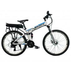 """Електровелосипед складаний МАКЕ 36V 12Ah 500W 26"""", рама 17"""" біло-блакитний"""