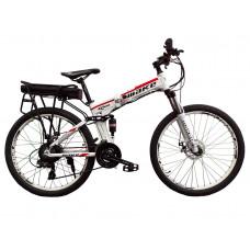 """Електровелосипед складаний МАКЕ 36V 12Ah 500W 26"""", рама 17"""" біло-червоний"""