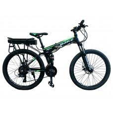 """Електровелосипед складаний МАКЕ 36V 12Ah 500W 26"""", рама 17"""" чорно-зелений"""