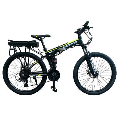 """Електровелосипед складаний МАКЕ 36V 18Ah 500W 26"""", рама 17"""" алюмінієвий чорно-жовтий"""