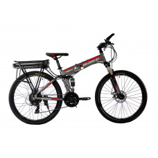 """Електровелосипед складаний МАКЕ 36V 12Ah 500W 26"""", рама 17"""" алюмінієвий сіро-червоний"""