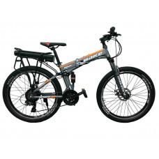 """Електровелосипед складаний МАКЕ 36V 12Ah 500W 26"""", рама 17"""" сіро-помаранчевий"""