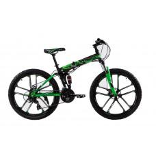 """Складной велосипед Kerambit на литых дисках 26"""" чёрно-зелёный"""