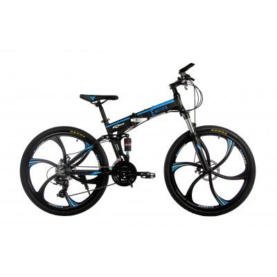 """Алюмінієвий складний велосипед E-motion на литих дисках 26"""" / рама 17"""" чорно-синій"""