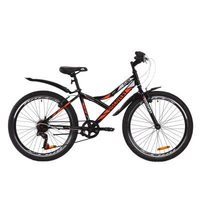 """Велосипед ST 24"""" Discovery FLINT Vbr с крылом Pl 2020 (черно-оранжевый с серым)"""