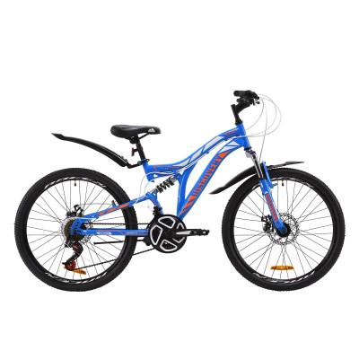 """Велосипед ST 24"""" Discovery ROCKET AM2 DD з крилом Pl 2020 (синьо-помаранчевий з білим)"""