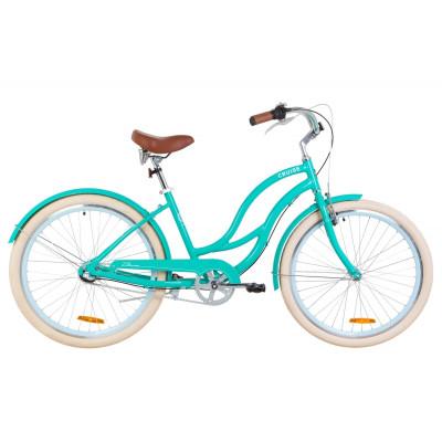 """Велосипед 26"""" Dorozhnik CRUISE 14G планет. Al з крилом St 2019 (бірюзовий)"""