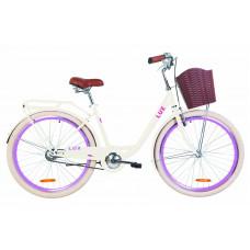 "Велосипед 26"" Dorozhnik LUX 14G St с багажником зад St, с крылом St, с корзиной Pl (бежевый)"