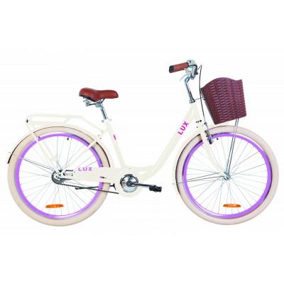 """Велосипед 26"""" Dorozhnik LUX 14G St з багажником зад St, з крилом St, з кошиком Pl (бежевий)"""