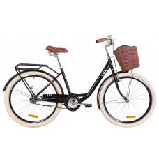 """Велосипед 26"""" Dorozhnik LUX 14G St с багажником зад St, с крылом St, с корзиной Pl (черный)"""