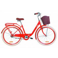 """Велосипед 26"""" Dorozhnik LUX 14G St с багажником зад St, с крылом St, с корзиной Pl (красный)"""
