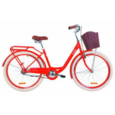 """Велосипед 26"""" Dorozhnik LUX 14G St з багажником зад St, з крилом St, з кошиком Pl (червоний)"""