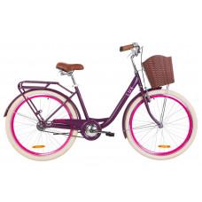 """Велосипед 26"""" Dorozhnik LUX 14G St с багажником зад St, с крылом St, с корзиной Pl (сливовый)"""