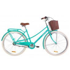 """Велосипед 28"""" Dorozhnik COMFORT FEMALE 14G планет. St з багажником зад St, з крилом St, з кошиком Pl (бірюзовий)"""