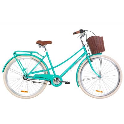 """Велосипед 28"""" Dorozhnik COMFORT FEMALE 14G планет. St с багажником зад St, с крылом St, с корзиной Pl (бирюзовый)"""