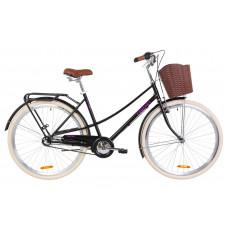 """Велосипед 28"""" Dorozhnik COMFORT FEMALE 14G планет. St з багажником зад St, з крилом St, з кошиком Pl (чорний)"""