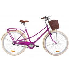 """Велосипед 28"""" Dorozhnik COMFORT FEMALE 14G планет. St з багажником зад St, з крилом St, з кошиком Pl (фіолетовий)"""