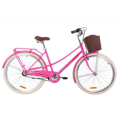 """Велосипед 28"""" Dorozhnik COMFORT FEMALE 14G планет. St з багажником зад St, з крилом St, з кошиком Pl (персиковий)"""