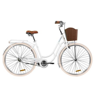 """Велосипед ST 28"""" Dorozhnik RETRO с багажником зад St, с крылом St, с корзиной Pl (белый)"""