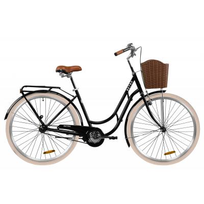 """Велосипед ST 28"""" Dorozhnik RETRO з багажником зад St, з крилом St, з кошиком Pl (чорний)"""