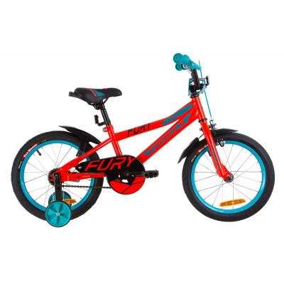 """Велосипед 16"""" Formula FURY 14G St с крылом Pl 2019 (красно-бирюзовый)"""