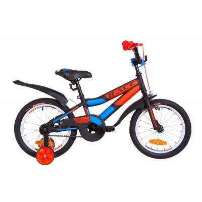 """Велосипед 16"""" Formula RACE усилен. St с крылом Pl 2019 (черно-оранжевый с синим)"""