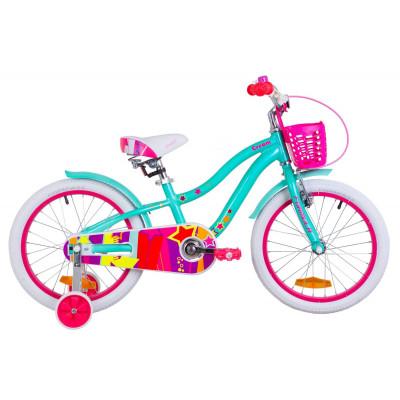 """Велосипед 18"""" Formula CREAM 14G Al з крилом St, з кошиком Pl 2019 (бірюзовий)"""
