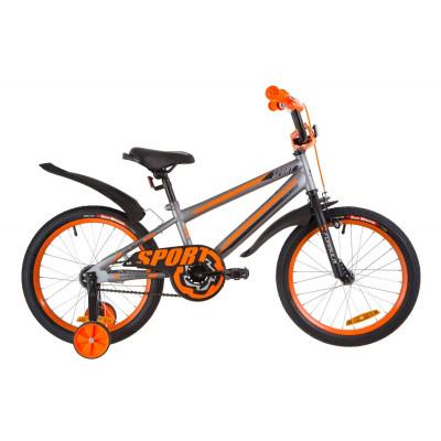 """Велосипед 18"""" Formula SPORT 14G St с крылом Pl 2019 (серо-черный с оранжевым)"""
