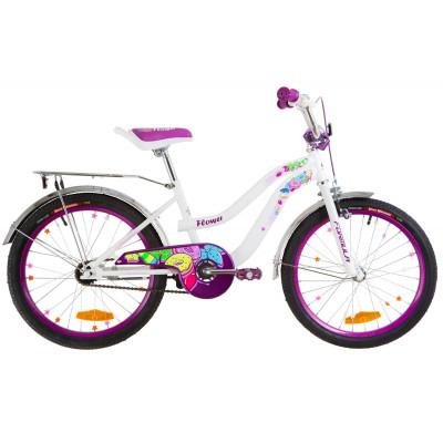 """Велосипед 20"""" Formula FLOWER 14G St с багажником зад St, с крылом St 2019 (бело-фиолетовый)"""