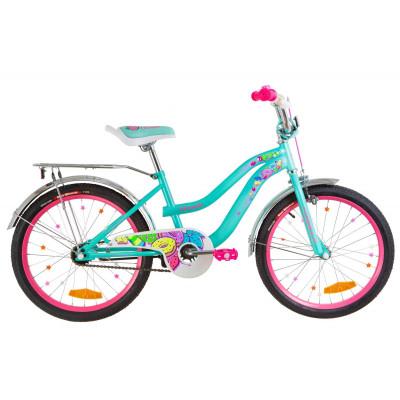 """Велосипед 20"""" Formula FLOWER 14G St з багажником зад St, з крилом St 2019 (бірюзовий)"""
