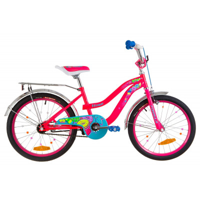 """Велосипед 20"""" Formula FLOWER 14G St с багажником зад St, с крылом St 2019 (розовый)"""
