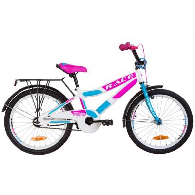 """Велосипед 20"""" Formula RACE MC посилен. St з багажником зад St, з крилом St 2019 (біло-блакитний з малиновим)"""