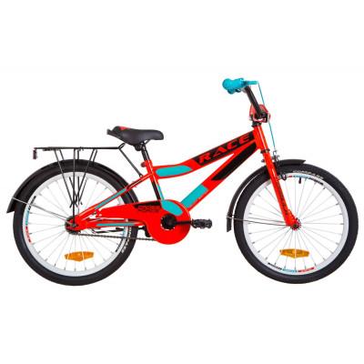 """Велосипед 20"""" Formula RACE MC посилен. St з багажником зад St, з крилом St 2019 (червоно-бірюзовий)"""
