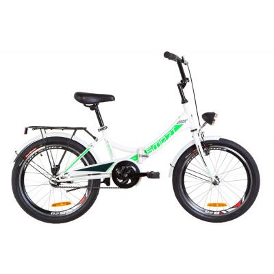 """Велосипед 20"""" Formula SMART 14G St з багажником зад St, з крилом St, з ліхтарем (біло-зелений)"""