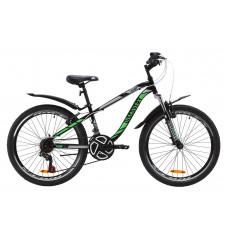 """Велосипед ST 24"""" Discovery FLINT AM Vbr з крилом Pl 2020 (чорно-зелений)"""