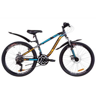 """Велосипед 24"""" Discovery FLINT AM 14G DD St с крылом Pl 2019 (черно-синий с оранжевым)"""